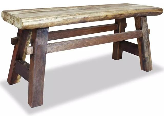 Yukon Farmhouse Bench with Storage Shelf Rustic Solid Wood Bench  Dark Walnut Mudroom Entry seating  durable polyurethane clear coat