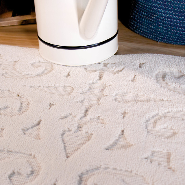 Orian Boucle Indoor/Outdoor Seaborn High-Low Area Rug, Ivory, 9'x13'