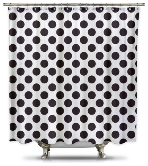 Polka-Dot Fabric Shower Curtain, White and Black - Contemporary ...