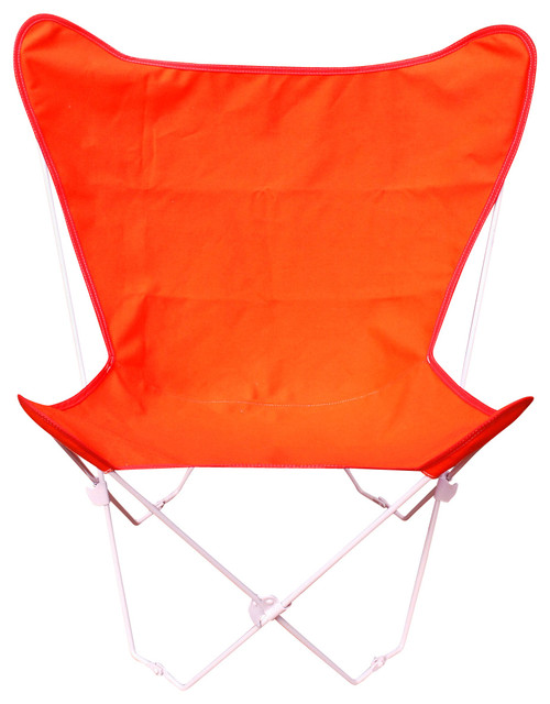 Albatross Folding Chair With White Frame, Orange.