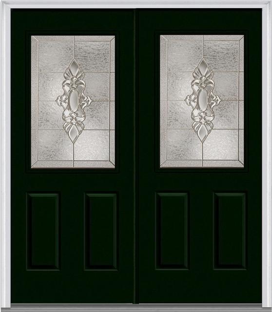 5 Lite 2 Panel Fiberglass Hunter Green Double Door Traditional
