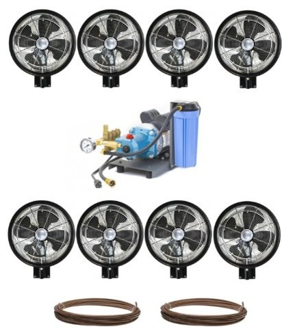 "Kit Of 8 High Pressure, 18"" Oscillating Wall Mount Mist Fans."