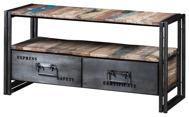 Boris Recycled Wood And Metal 2 Drawer Tv Unit
