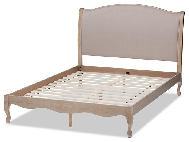 Lorelei French Beige Fabric Oak Platform Bed, Light Beige, Full