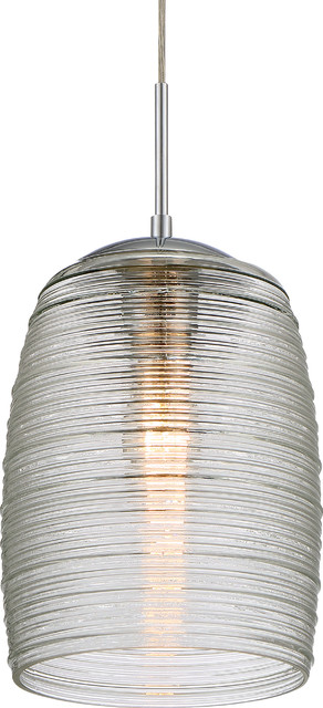 Luxury Chrome Ribbed Glass Pendant Light, Uql2644, San Sebastian Collection.