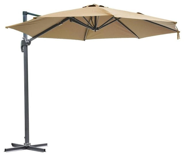 10&x27; Rome Offset Outdoor Patio Umbrella, Swivel Base, Tan.