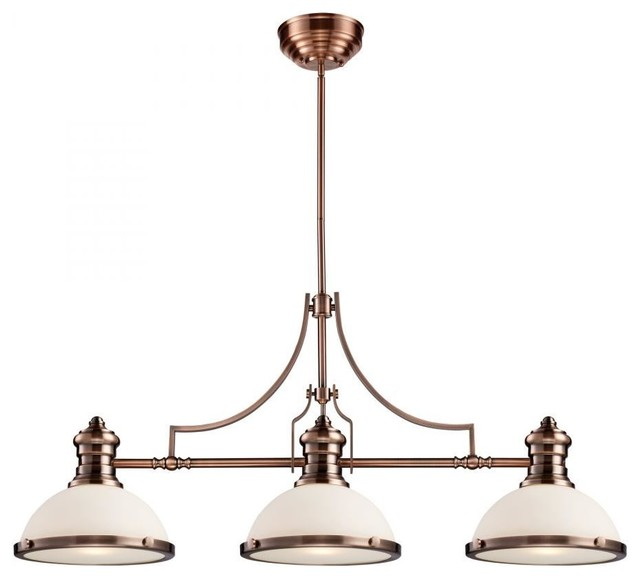 ELK Lighting Chadwick 3-Light Billiard, Antique Copper And