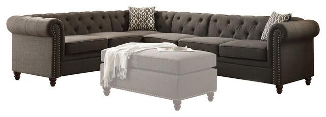 Acme Aurelia Ii Sectional Sofa Charcoal Linen Traditional