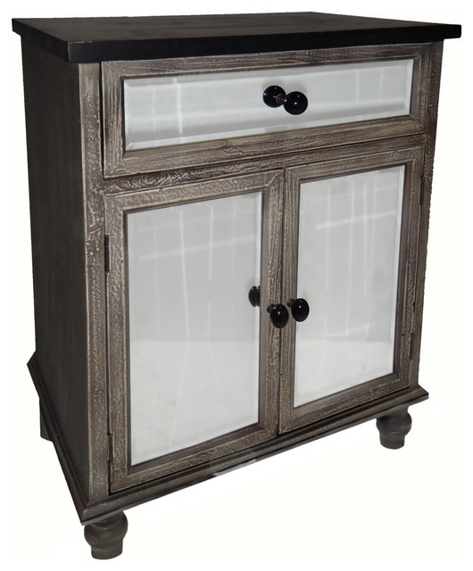 Distressed Mirrored Cabinet Traditional Accent Chests
