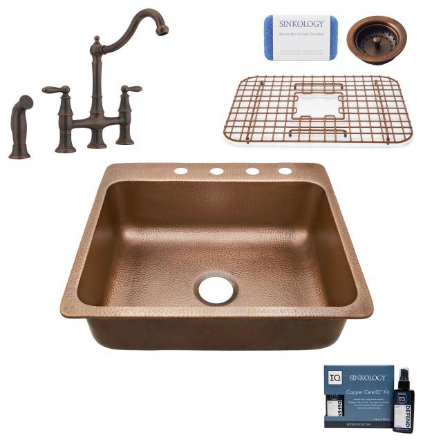 "Rosa 25"" Drop-in Copper Kitchen Sink, Bridge Faucet and Strainer Drain"