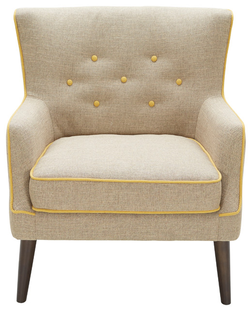 Sedgwick Accent Chair, Light Brown And Yellow.