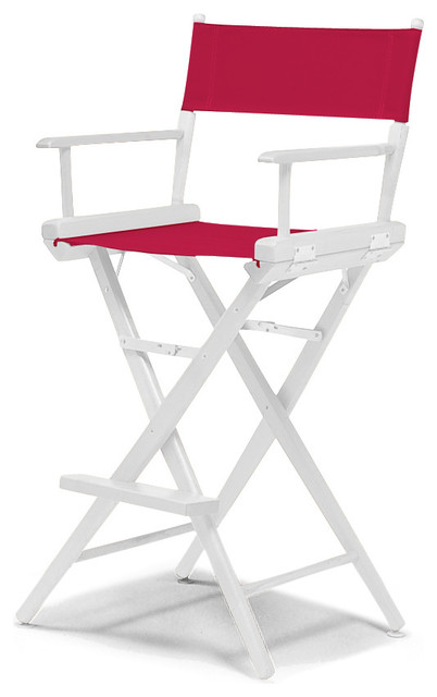 Surprising World Famous Bar Height Director Chair White Finish Red Onthecornerstone Fun Painted Chair Ideas Images Onthecornerstoneorg