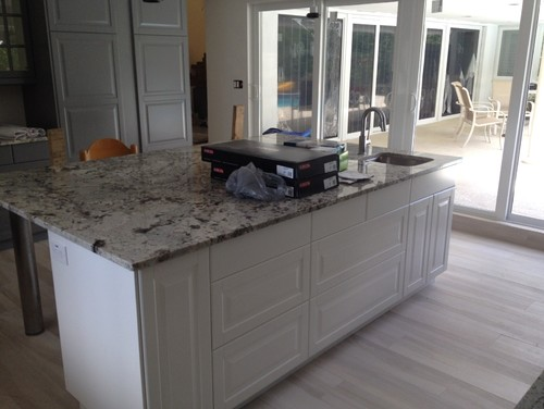 Granite island countertop overhang help for Granite countertop overhang