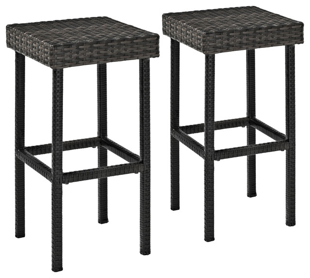 Palm Harbor Outdoor Wicker Bar Height Stools, Set Of 2.