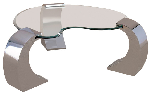 Custer Contemporary Cocktail Table With Metal Base And Kidney Glass Top.
