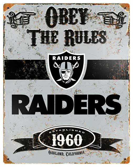 Oakland Raiders Embossed Metal Sign Traditional Game