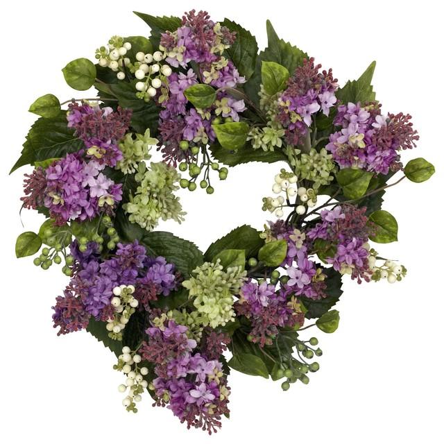 Silk Flowers -20 Inch Hanel Lilac Wreath Artificial Plant.