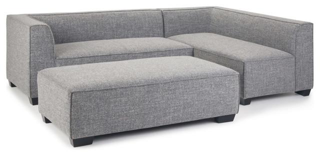 Pleasing Bainbridge Sectional With Ottoman Smoke Gray Faux Air Leather Theyellowbook Wood Chair Design Ideas Theyellowbookinfo