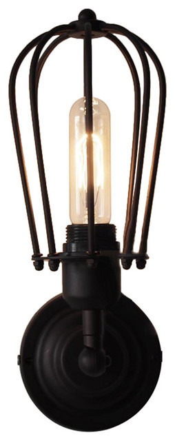 Industrial Iron Cage-Style Shade Wall Sconce Light