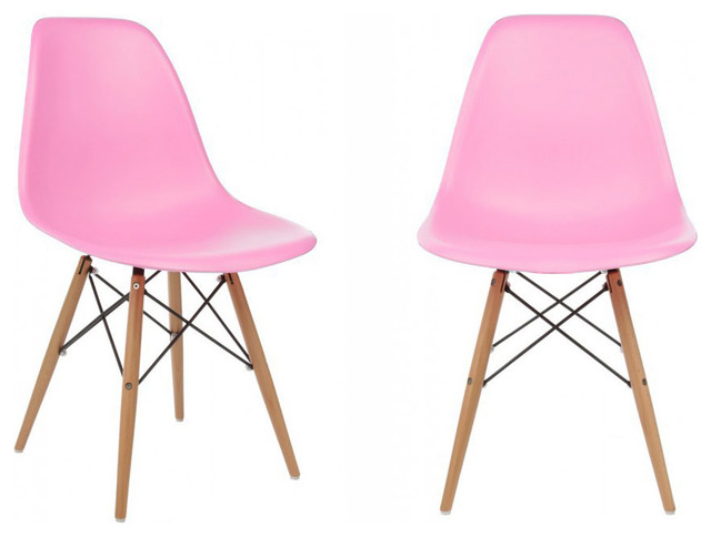 Molded Plastic Dining Chairs 2 x dsw molded pink plastic dining shell chair with wood eiffel