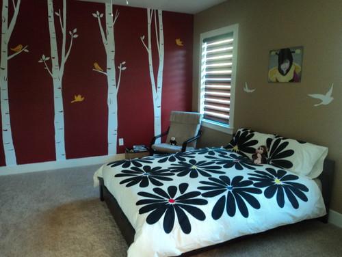 принт деревья в дизайне комнаты для подростка девочки