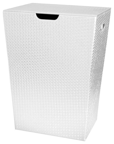 Rectangular Laundry Basket Made From Faux Leather White Contemporary Hampers By Thebathoutlet