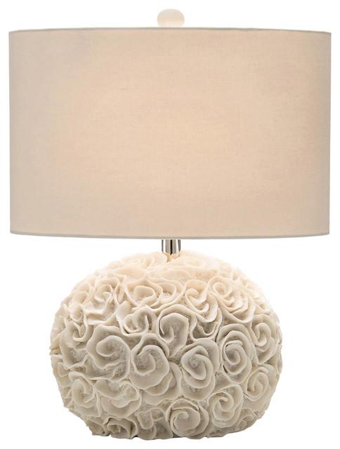 emily coastal beach cream ribbon rosette round table lamp beach