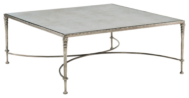 Freyja Industrial Silver Antique Mirror Square Coffee Table Industrial Coffee Tables