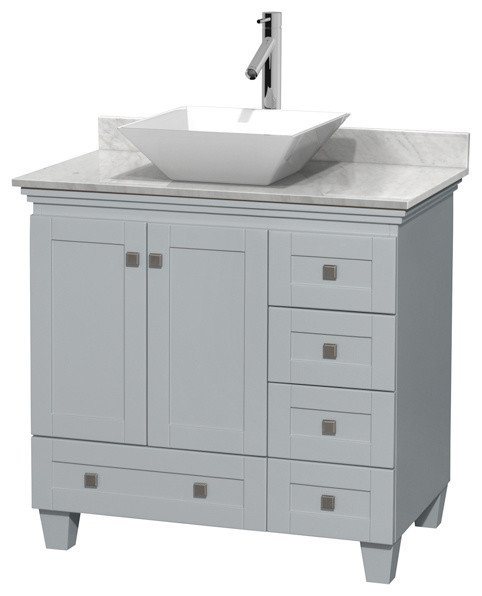 "Acclaim Oyster Gray Vanity, 36"", White Carrera Marble, Pyra White Porcelain."