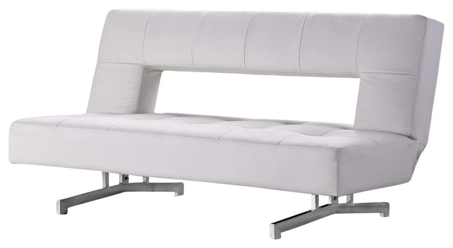 Lovely 0926 White Eco Leather Sofa Bed Modern Futons