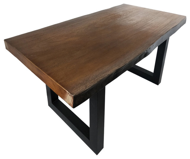 GDF Studio Jessica Indoor Faux Live Edge Antique Teak Concrete Dining Table by GDFStudio