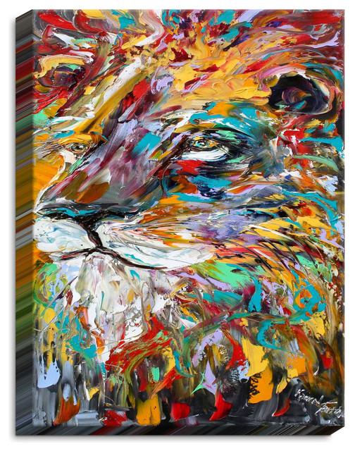 Dianoche Canvas Wall Art By Karen Tarlton Abstract Lion.