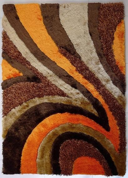 5 X7 Hand Tufted Brown And Orange Living Room Shaggy
