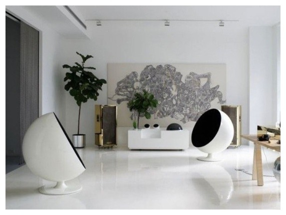 Eero Aarnio Style Ball Chair In Black By Rove Concepts Modern Living Room