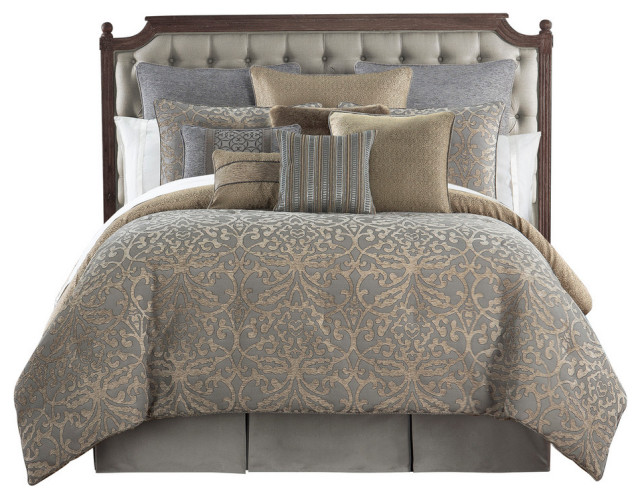 Carrick Silver and Antique Gold Queen Comforter Set, Cal King