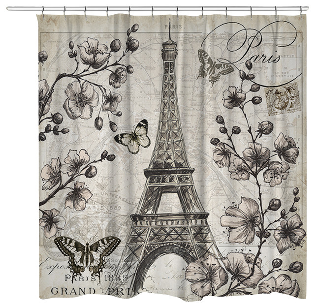 Paris In Bloom Shower Curtain   Traditional   Shower Curtains   By Laural  Home