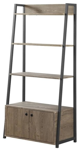 Driftwood Ladder Bookcase With 4-Shelves And Storage Cabinet