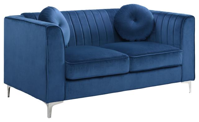 Traditional Living Room Marilyn Velvet Loveseat, Blue
