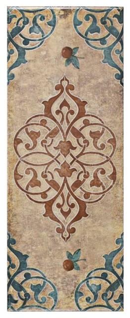 "SomerTile 5.88""x15.75"" Siempre Ceramic Wall Tile, Cream Grafic"
