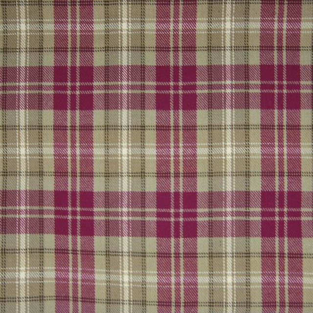 Crimson Red Purple Plaid Woven Cotton Upholstery, Fabric By The