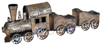 Silver, Metallic Holiday Musical Train With Multi-Colored Lights.