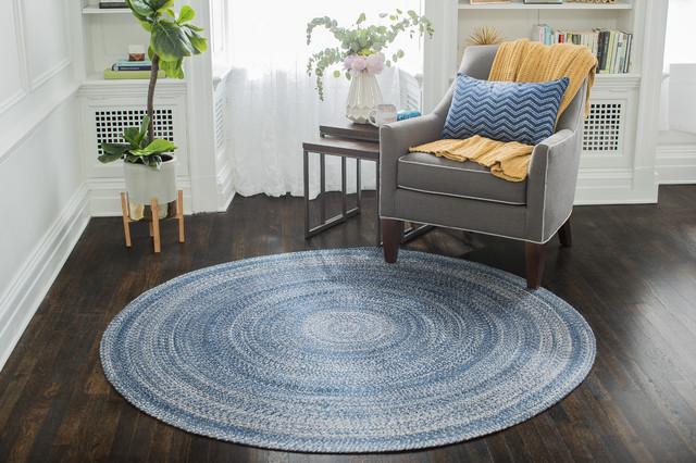 Epona Round Braided Area Rug, Blue, 8&x27;.