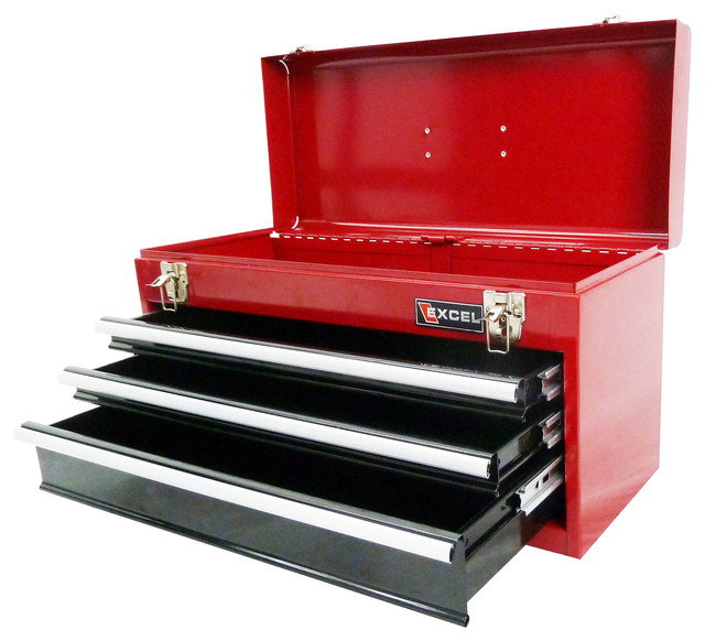 Portable Steel Tool Box With 3 Drawers, Red - Traditional ...
