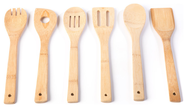 5 Piece Wooden Spoons Bamboo Set Kitchen Utensil Cooking Tools Wood Spatula Kit