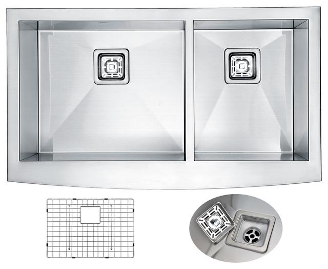 Anzzi Elysian 36in. Farm House 60/40 Dual Basin Stainless Steel Kitchen Sink.