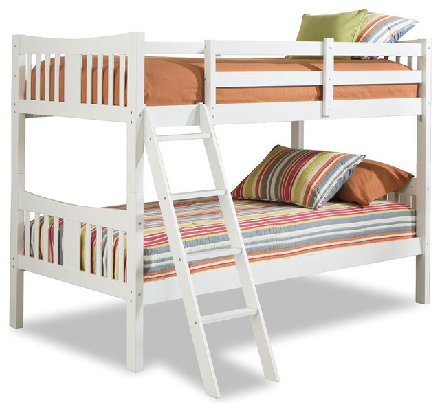 fastfurnishings twin over twin size solid wood bunk bed frame white finish panel beds houzz. Black Bedroom Furniture Sets. Home Design Ideas