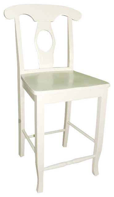 International Concepts Empire 24 Solid Wood Seat Stool In Linen White Bar Stools