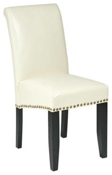Angelo Bonded Leather Parsons Chair, Cream.