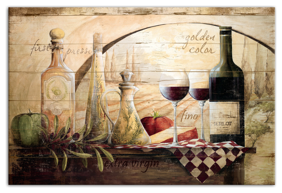 Tuscan Vineyard Wine Canvas Wall Art Farmhouse Prints And Posters By Designs Direct Houzz