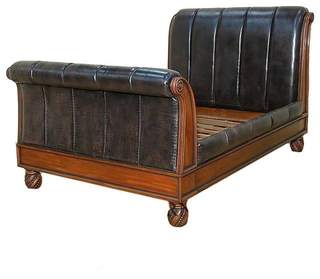 American Drew Bob Mackie Queen Sleigh Bed Mahogany And Leather